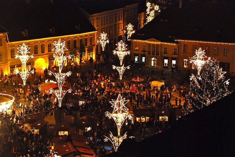 Рождественский базар в Сибиу, Трансильвания (Румыния)